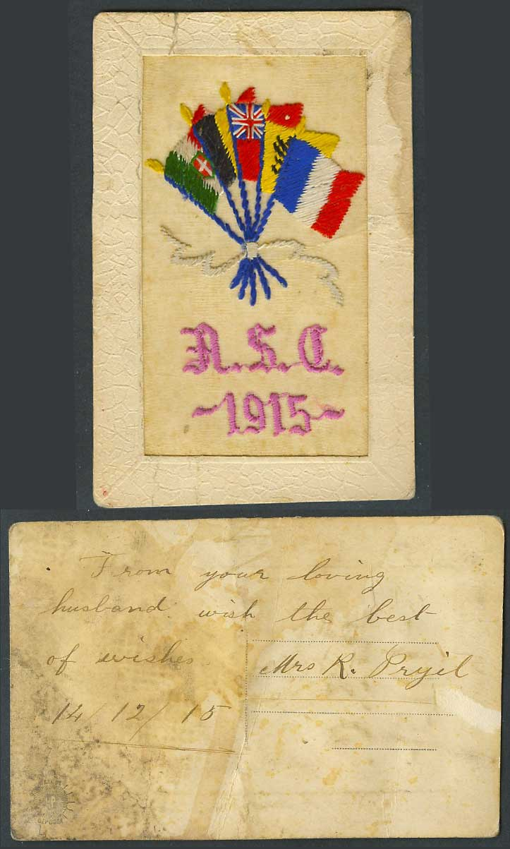 WW1 SILK Embroidered A.S.C. 1915 Old Postcard Army Service Corps. Flag Flags ASC