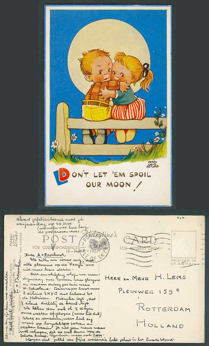 MABEL LUCIE ATTWELL 1961 Old Postcard Don't Let 'Em Spoil Our Moon! Romance 5921