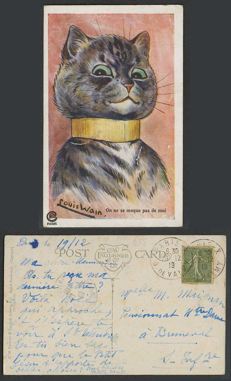 Louis Wain Artist Signed Cat Kitten, On ne se moque pas de moi 1919 Old Postcard