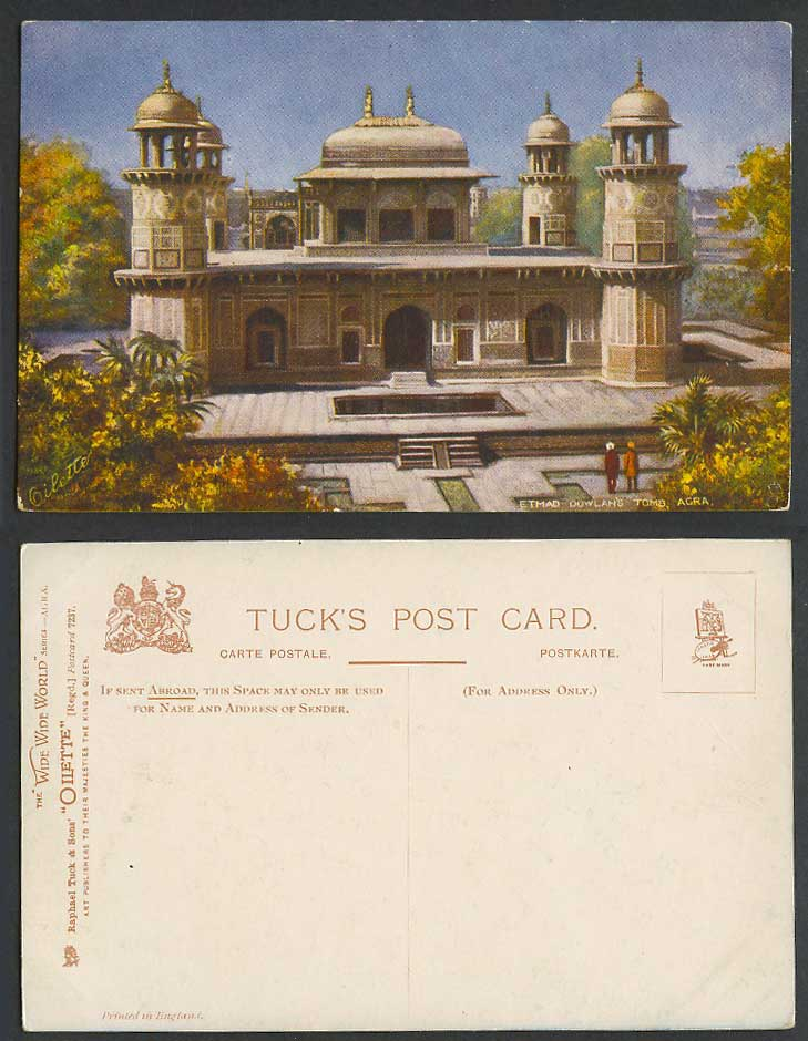 India Old Tuck's Postcard Etmad Dowlah's Tomb Agra Emperor Jahangir Garden Steps