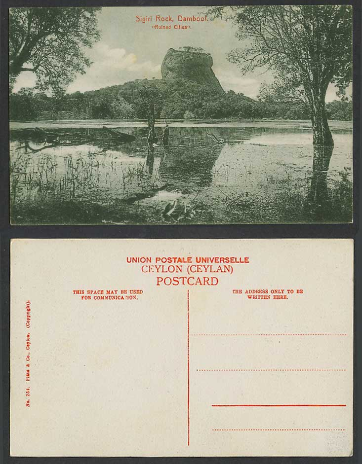 Ceylon Old Postcard Sinhagiri Sigiriya Sigiri Rock, Dambool, Ruined Cities, 254