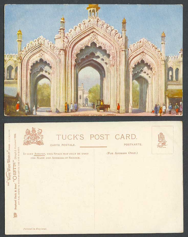 India Old Tuck's Oilette Postcard Hooseinabad Gateway Lucknow Gate Street Scene