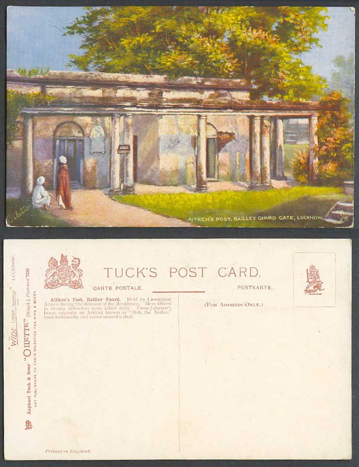 India Old Tuck's Oilette Postcard Aitken's Post Bailley Guard Gate Lucknow, 7236