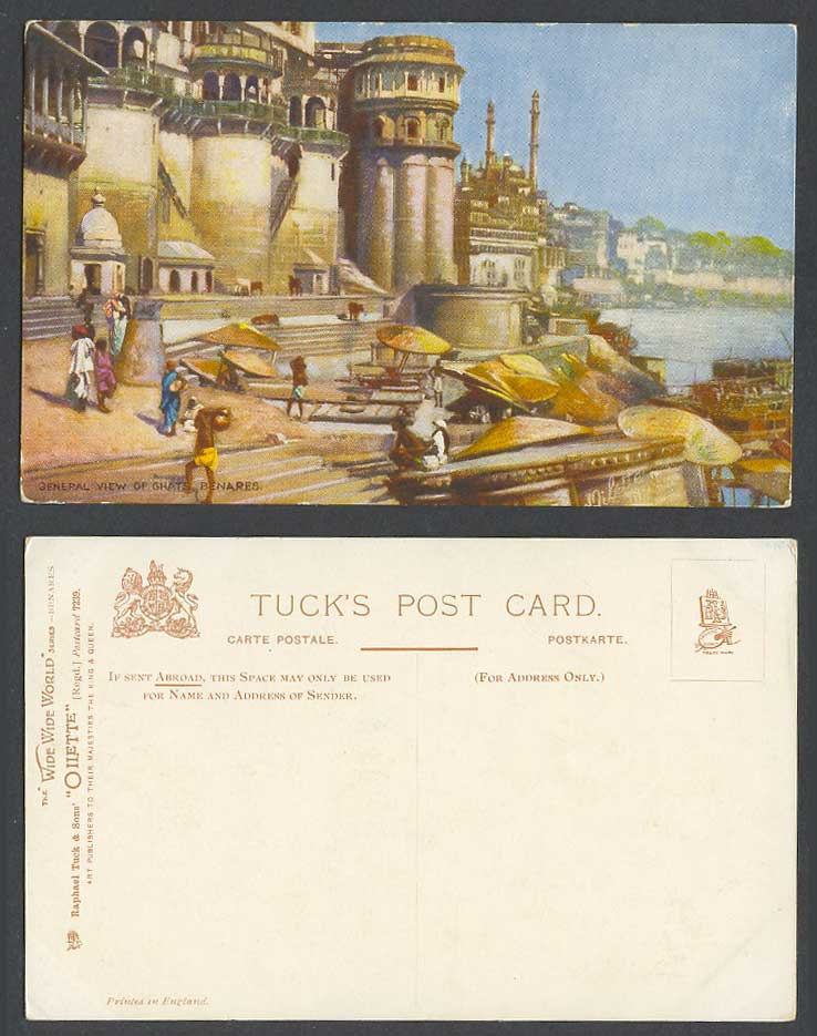 India Old Tuck's Oilette Postcard Panorama General View of Ghat Benares, Coolies