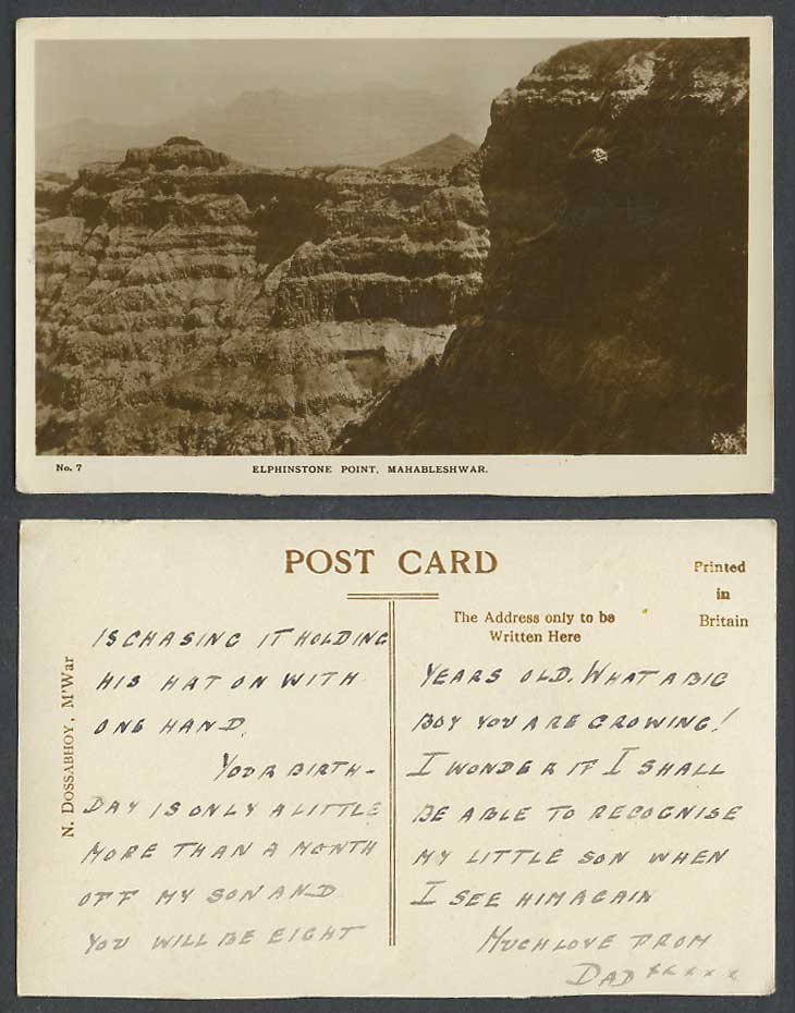 India Old Real Photo Postcard Elphinstone Point M'War Mahabaleshwar Mountains 7.