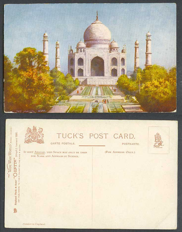 India Old Tuck's Oilette Postcard THE TAJ MAHAL, Agra, Fountains, Gardens Palace
