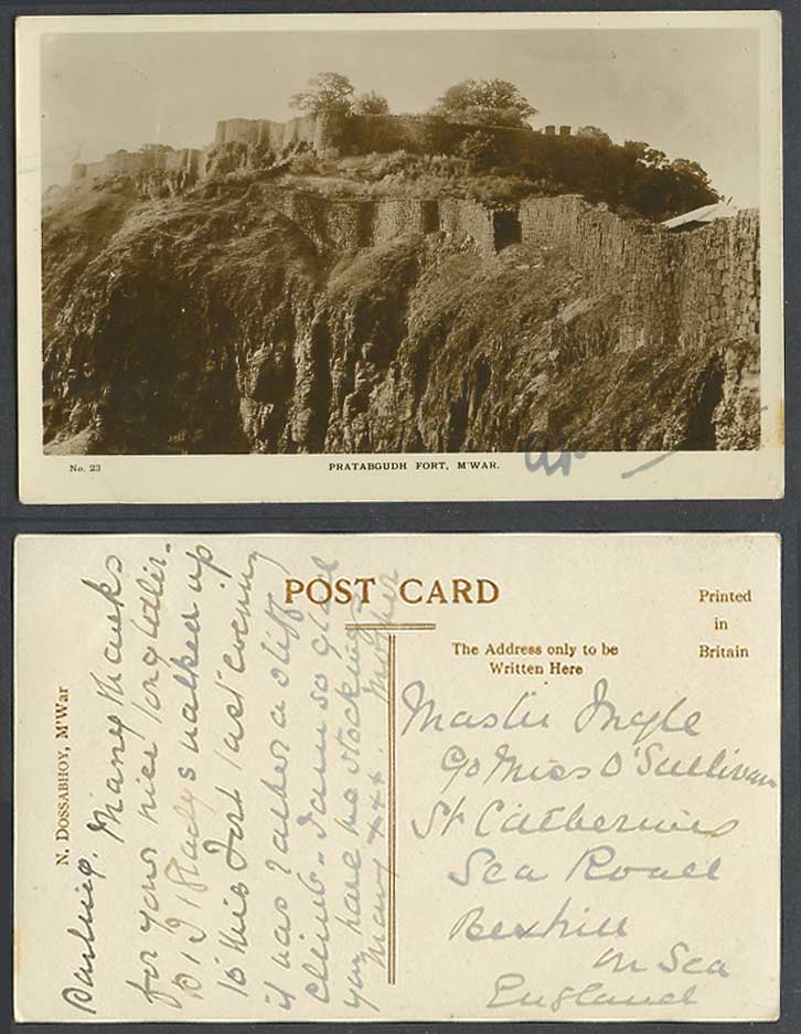 India Old Real Photo Postcard Pratabgudh Pratapgad Fort M'War Mahabaleshwar N.23