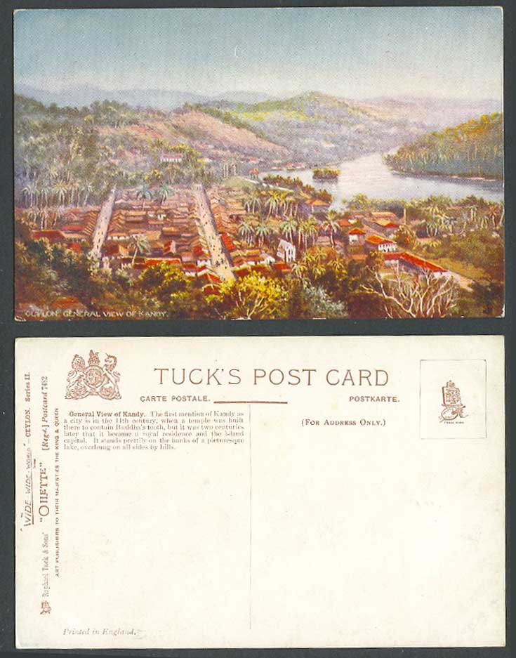Ceylon Old Tuck's Oilette Postcard General View of Kandy Lake Streets Palm Trees