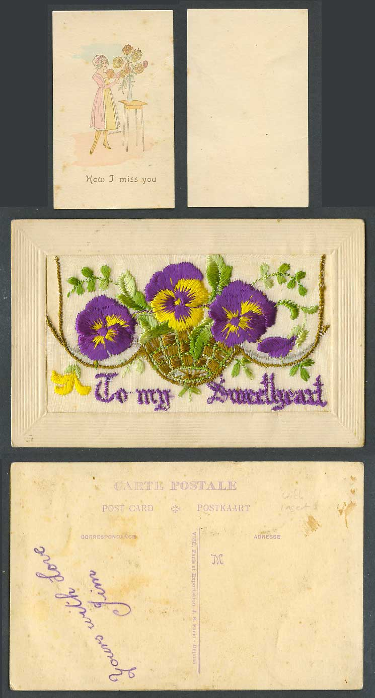 WW1 SILK Embroidered Old Postcard To My Sweetheart Flowers Wallet How I Miss You