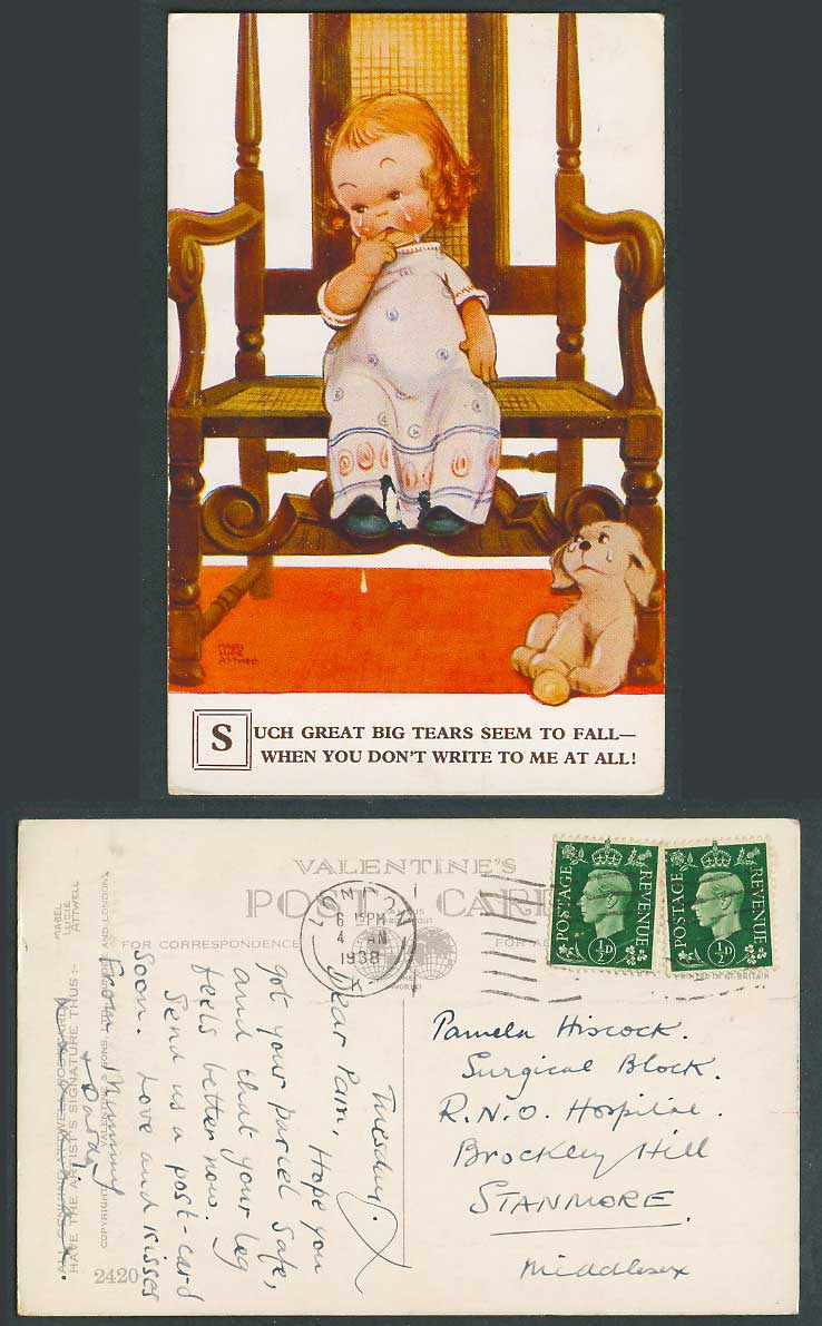 MABEL LUCIE ATTWELL 1938 Old Postcard Dog, Tears Fall You Don't Write To Me 2420