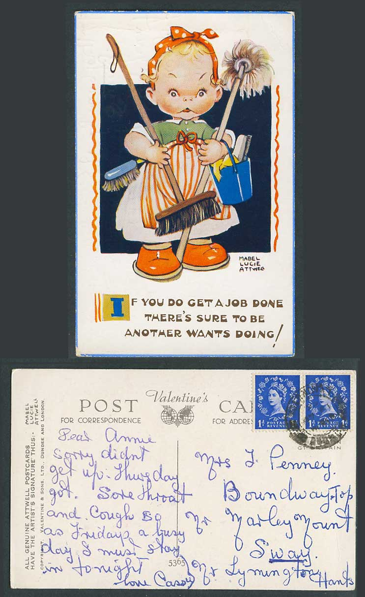 MABEL LUCIE ATTWELL Old Postcard Get a Job Done Sure be Another Wants Doing 5365