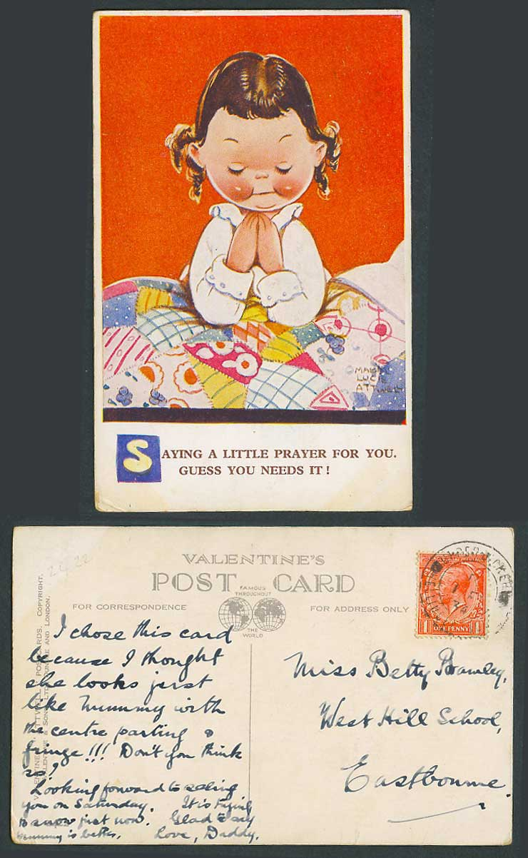 MABEL LUCIE ATTWELL 1934 Old Postcard Saying a Prayer for You Guess Need It 2422