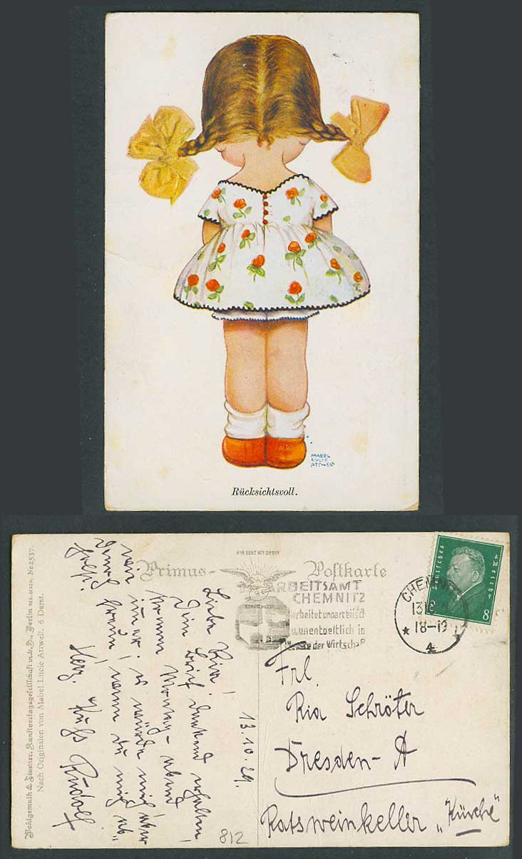 MABEL LUCIE ATTWELL 1929 Old Postcard Girl Back Considerate Ruecksichtsvoll 2537