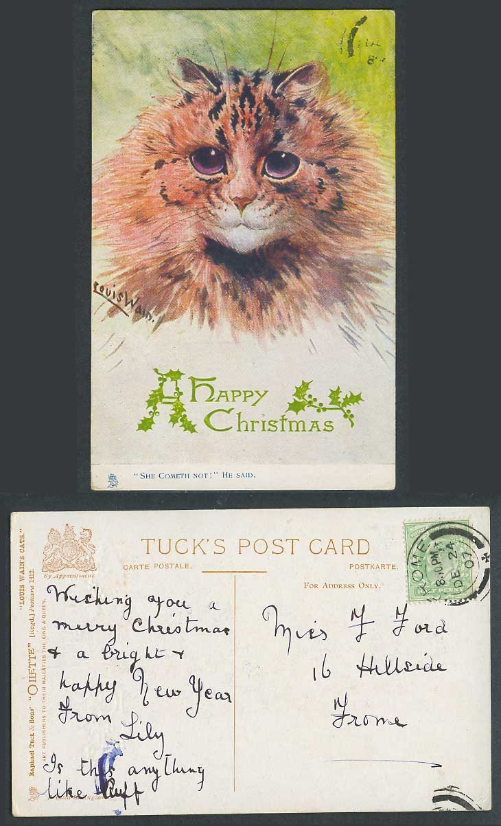 Louis Wain Artist Signed Cat, Happy Christmas, She Cometh Not! 1907 Old Postcard