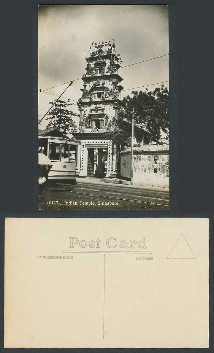 Singapore Old Real Photo Postcard Hindu Indian Temple, Pagoda Tower, TRAM Street