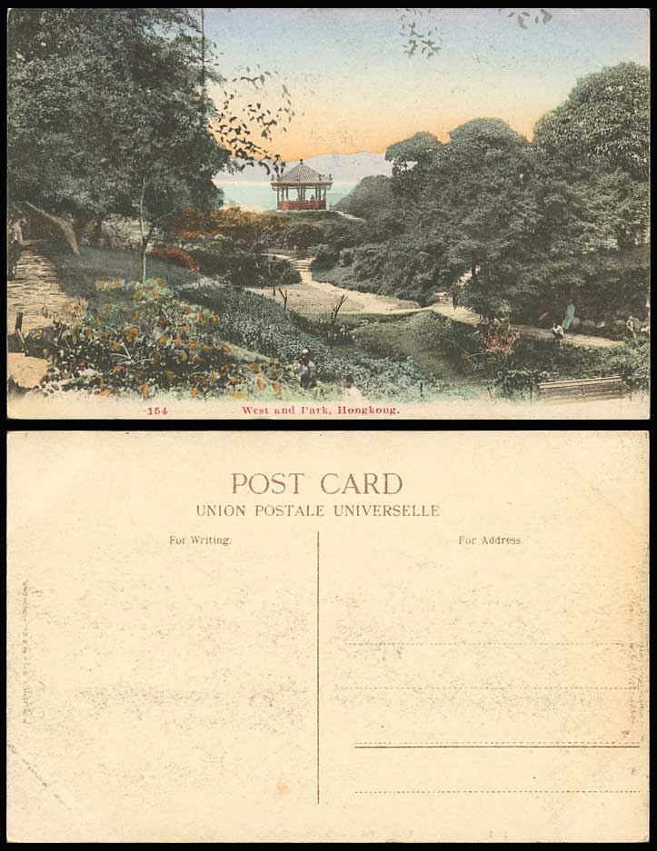 Hong Kong China Old Hand Tinted Postcard West End Park, Gazebo, Bandstand Willow