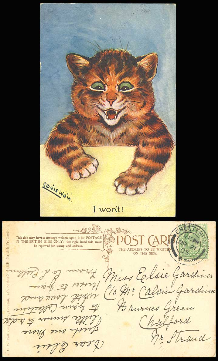 Louis Wain Artist Signed Cat Kitten, I Won't! 1905 Old Colour Postcard Art Drawn