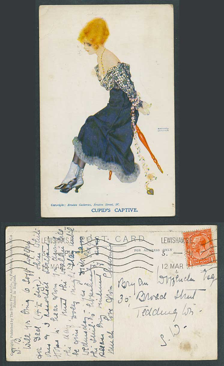 Raphael Kirchner 1921 Old Postcard Cupid's Captive Glamour Lady Woman is Tied Up