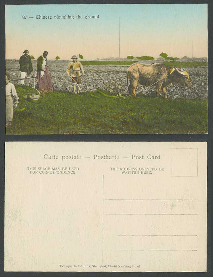 China Old Hand Tinted Postcard Chinese ploughing Ground, Farmer Water Buffalo 87