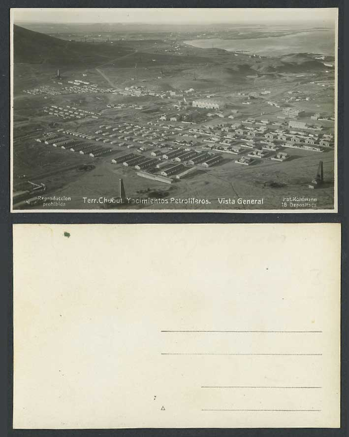 Argentina Old Postcard Oil Field Terr. Chubut Yacimientos Petroliferos, Air View