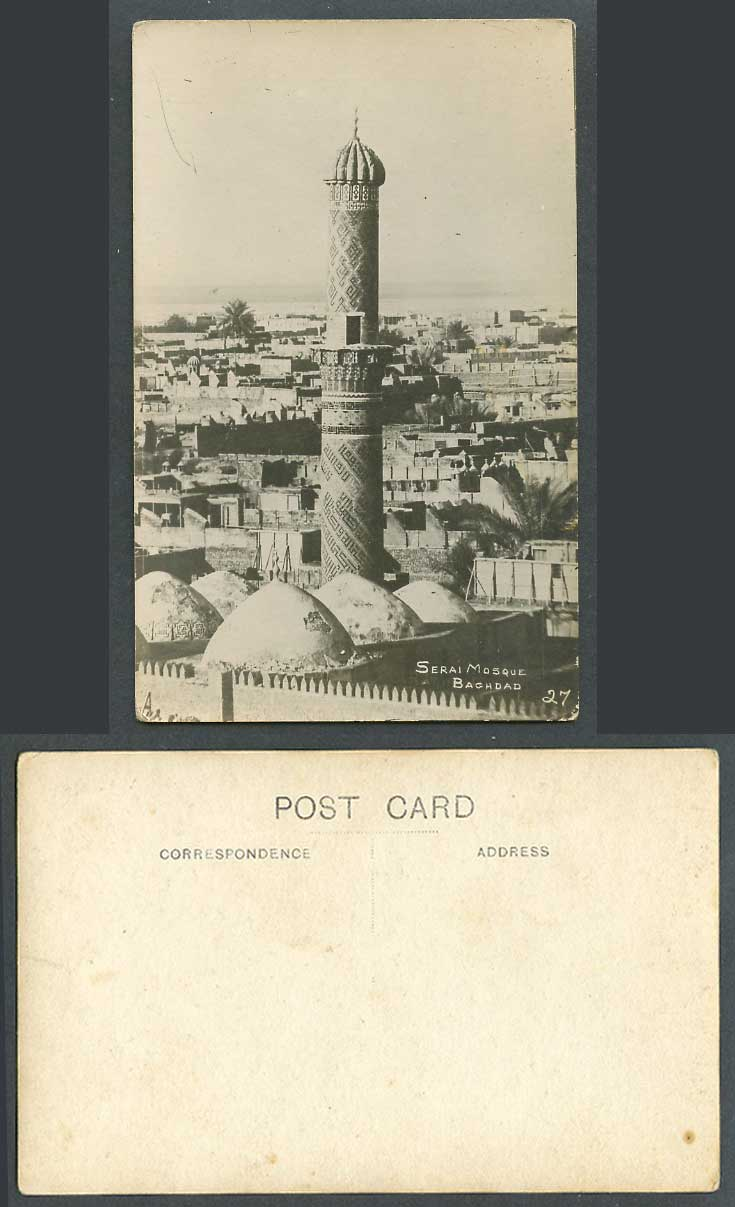 IRAQ Old Real Photo Postcard Serai Mosque Tower Baghdad Bagdad, Panorama Mosquee