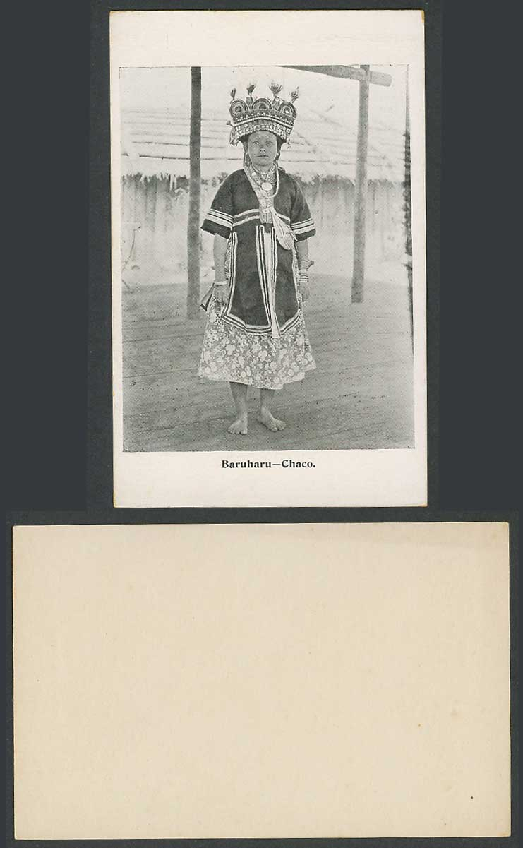 Borneo Baruharu Chaco, Native Malay Woman Lady Traditional Costumes Old Postcard