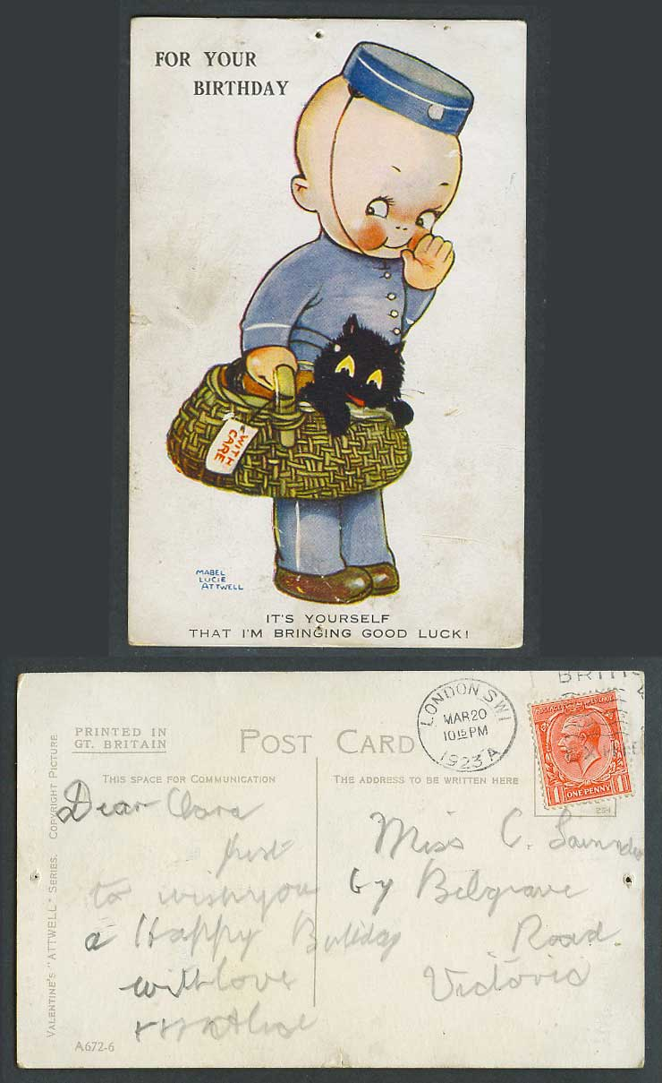 MABEL LUCIE ATTWELL 1923 Old Postcard Porter, Black Cat Kitten, Good Luck A672-6