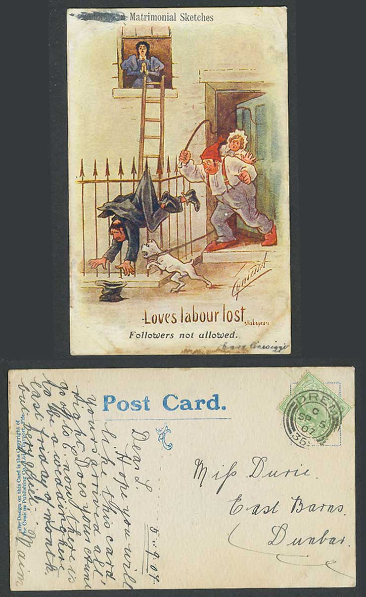 Cynicus 1907 Postcard Love Labour Lost Followers Not Allowed Matrimonial Sketch