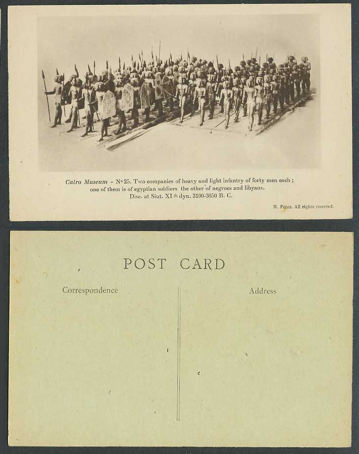 Egypt Old Postcard Cairo Museum Infantry Egyptian Soldiers Negroes Libyans, Siut