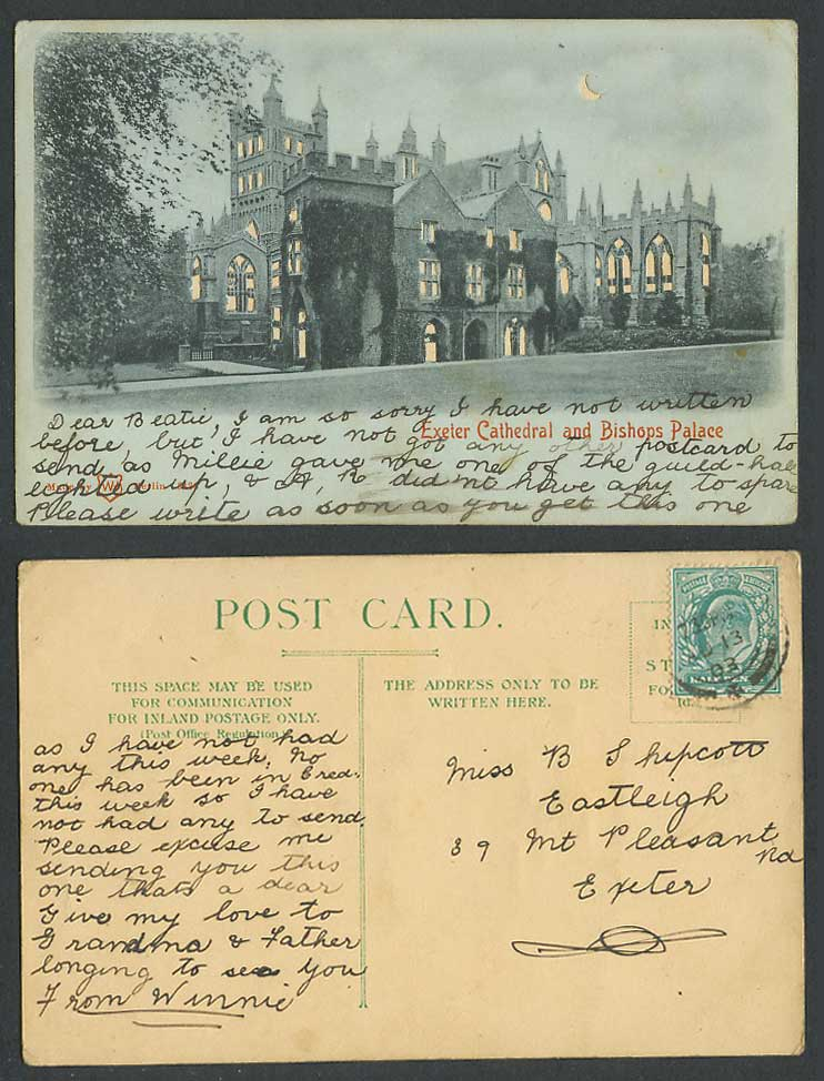 HOLD TO THE LIGHT Exeter Church Bishops Palace Devon, New Moon 1903 Old Postcard