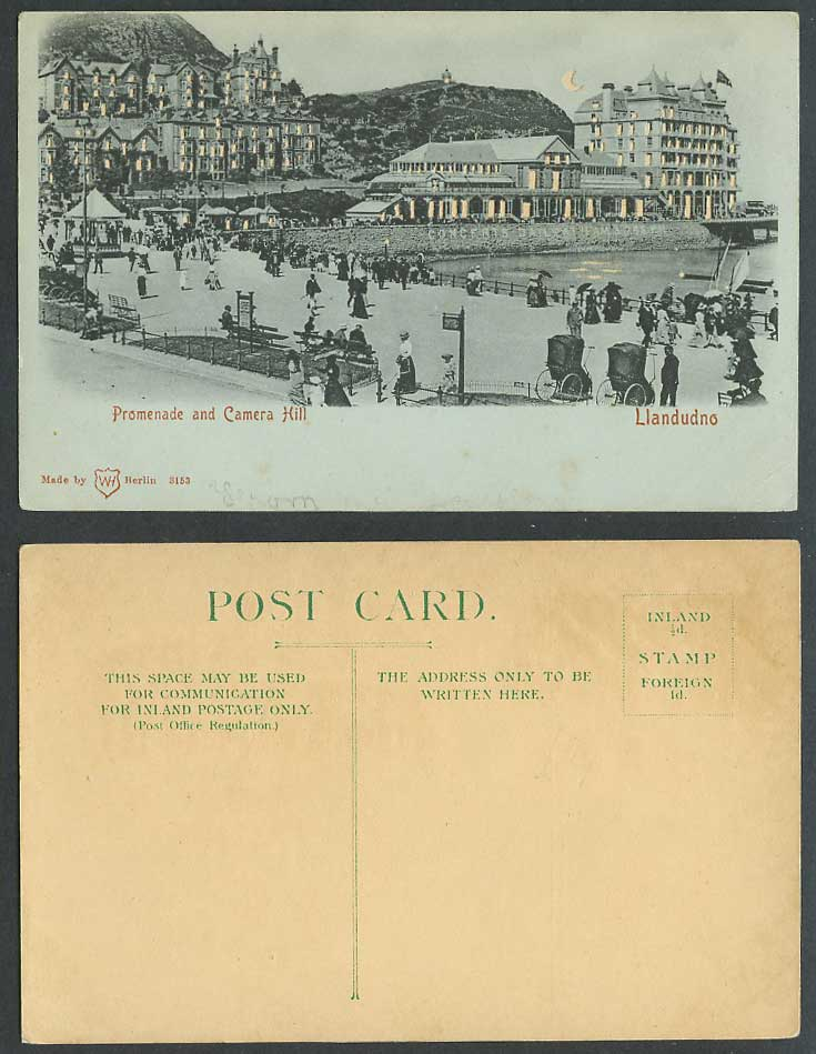 Hold to The Light, Llandudno Promenade & Camera Hill Bandstand Moon Old Postcard