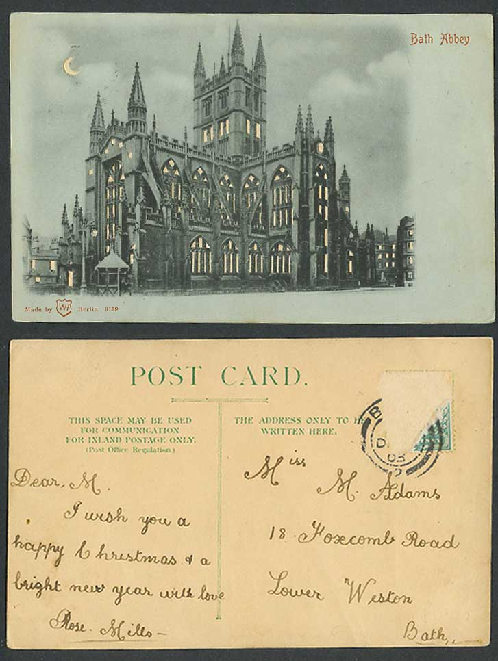 HOLD TO THE LIGHT Bath Abbey Somerset, Church Cathedral, Moon 1903 Old Postcard