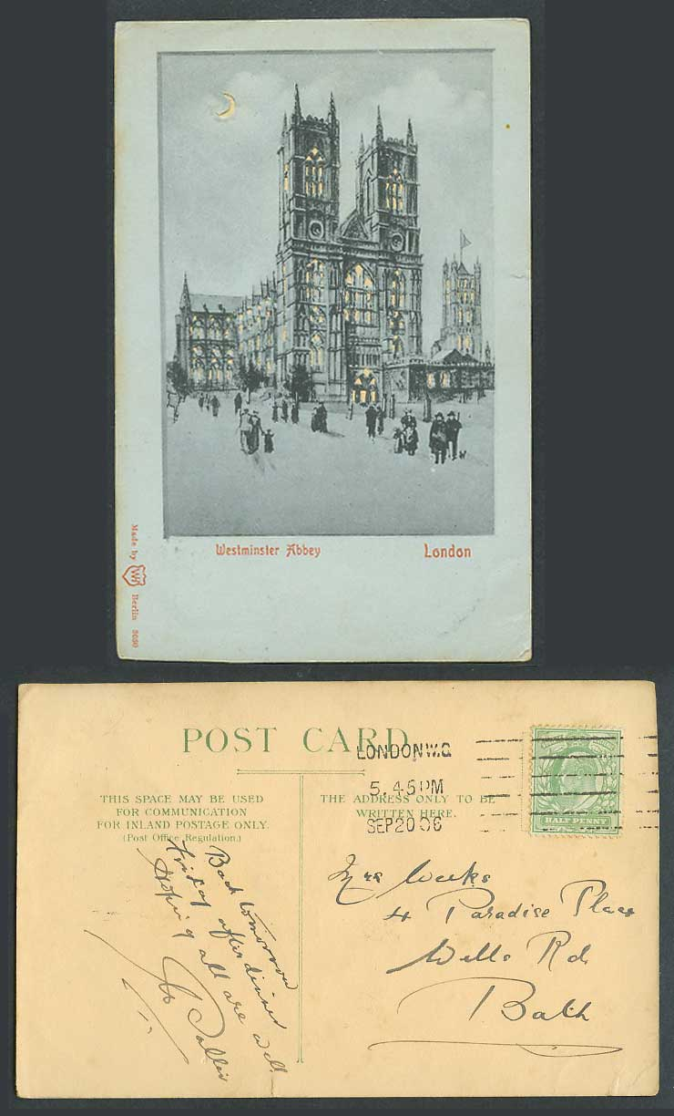 HOLD TO THE LIGHT, London Westminster Abbey, Street Scene Moon 1906 Old Postcard