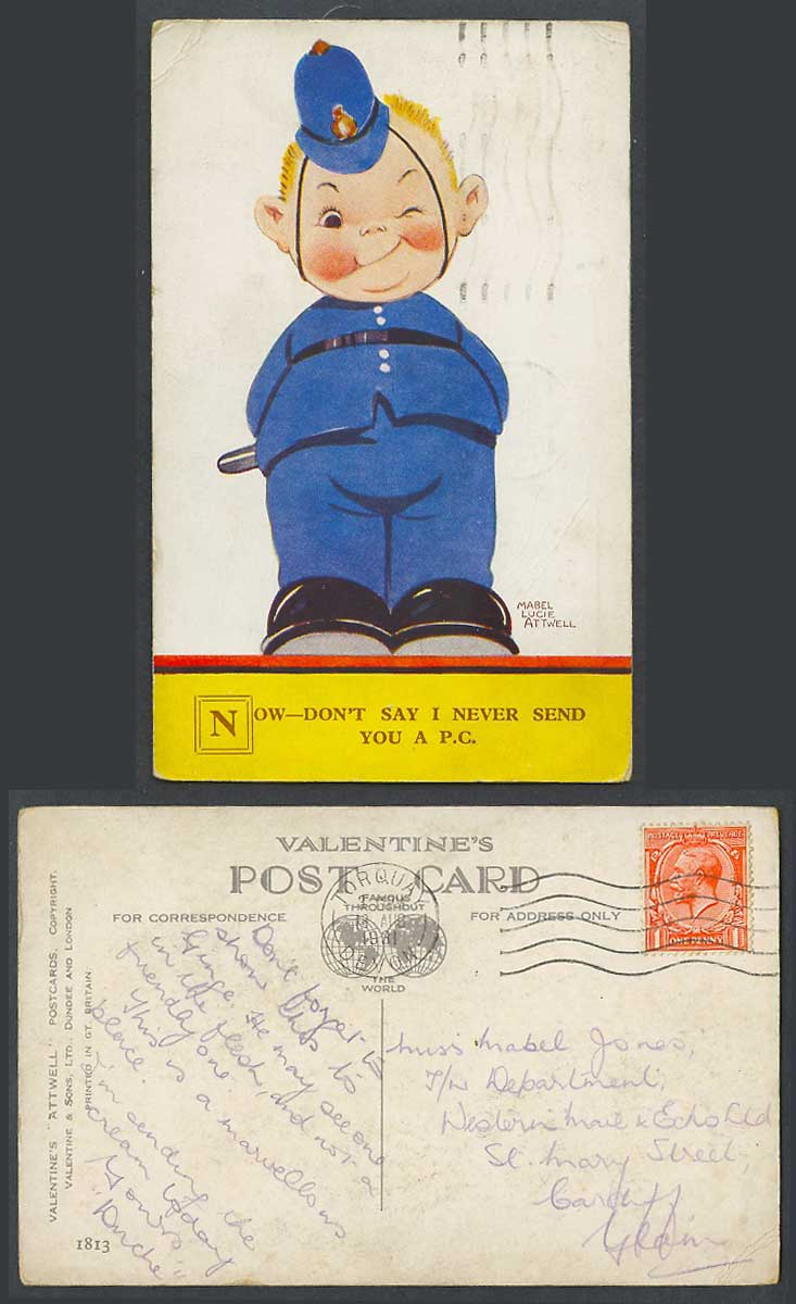 MABEL LUCIE ATTWELL 1931 Old Postcard Police, Don't Say I Never Send U P.C. 1813