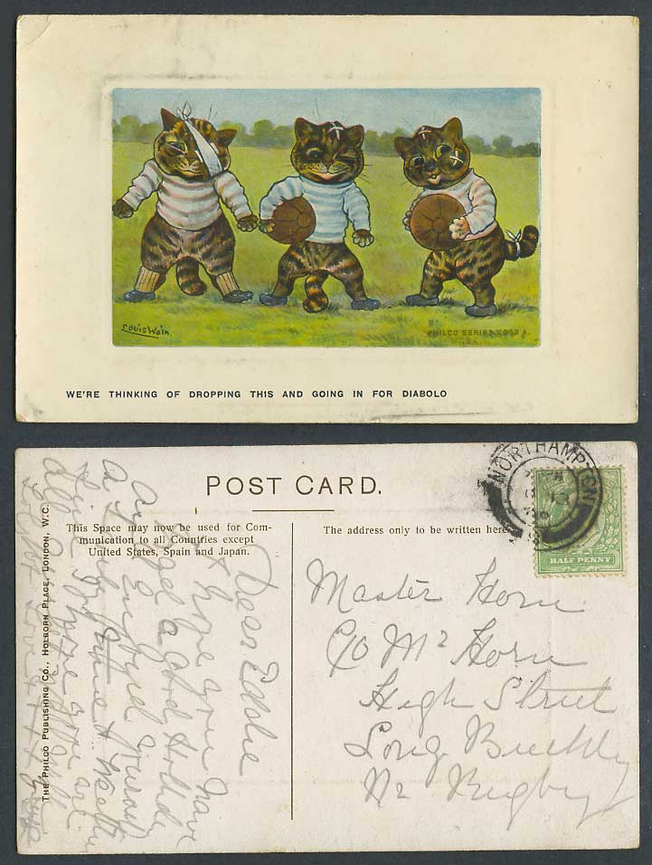Louis Wain Artist Signed Cats A Football Rugby Cricket Diabolo 1908 Old Postcard