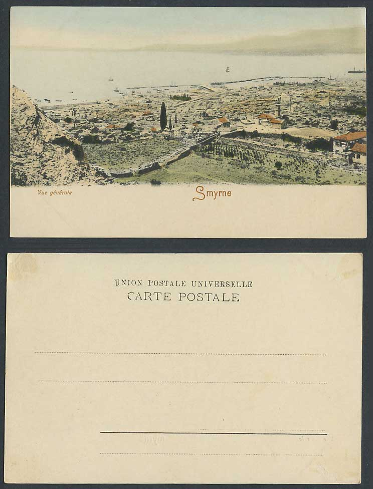Turkey Smyrne Smyrna Old Hand Tinted Postcard General View Panorama Vue Generale