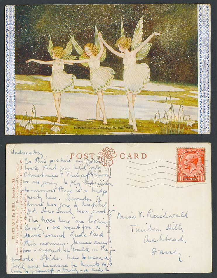 I.R. Outhwaite 1933 Old Postcard Fairies were Dancing In and Out Bunny & Brownie