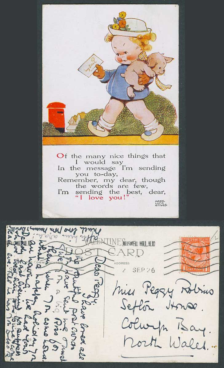 MABEL LUCIE ATTWELL 1926 Old Postcard Message I'm Sending You - I Love You 1010