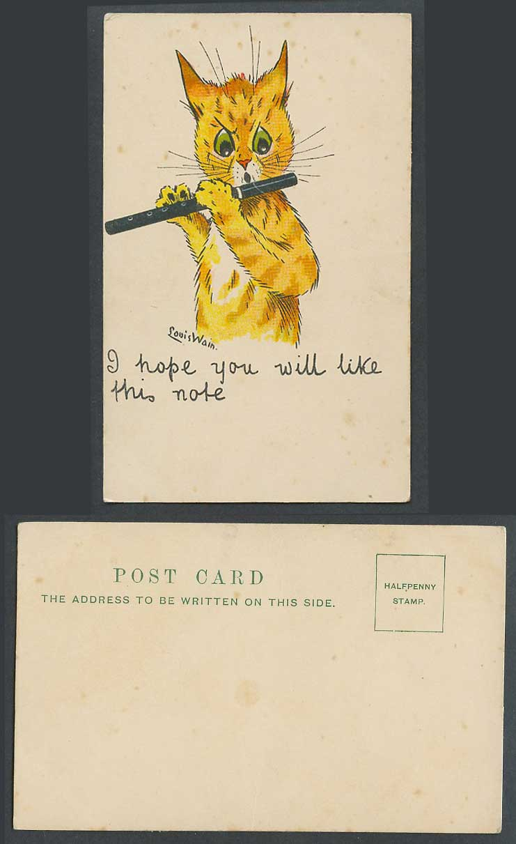 Louis Wain Artist Signed Cat, Flute, I Hope You Will Like This Note Old Postcard