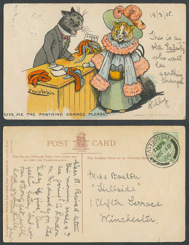 Louis Wain Artist Signed Cats, Give Me Farthing Change Please! 1905 Old Postcard