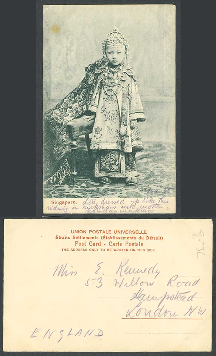 Singapore Old Postcard A Full Dressed Chinese Girl Princess Traditional Costumes