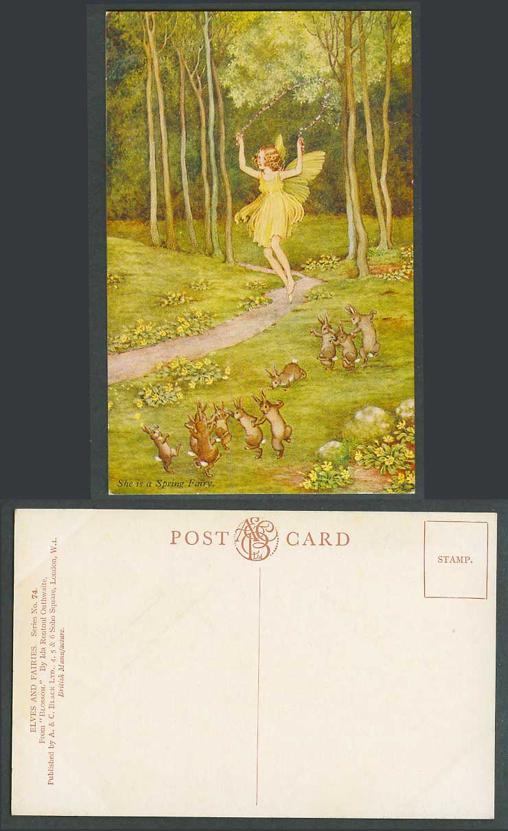 IR OUTHWAITE Old Postcard She is Spring Fairy Skipping Rope Rabbits, Blossoms 74