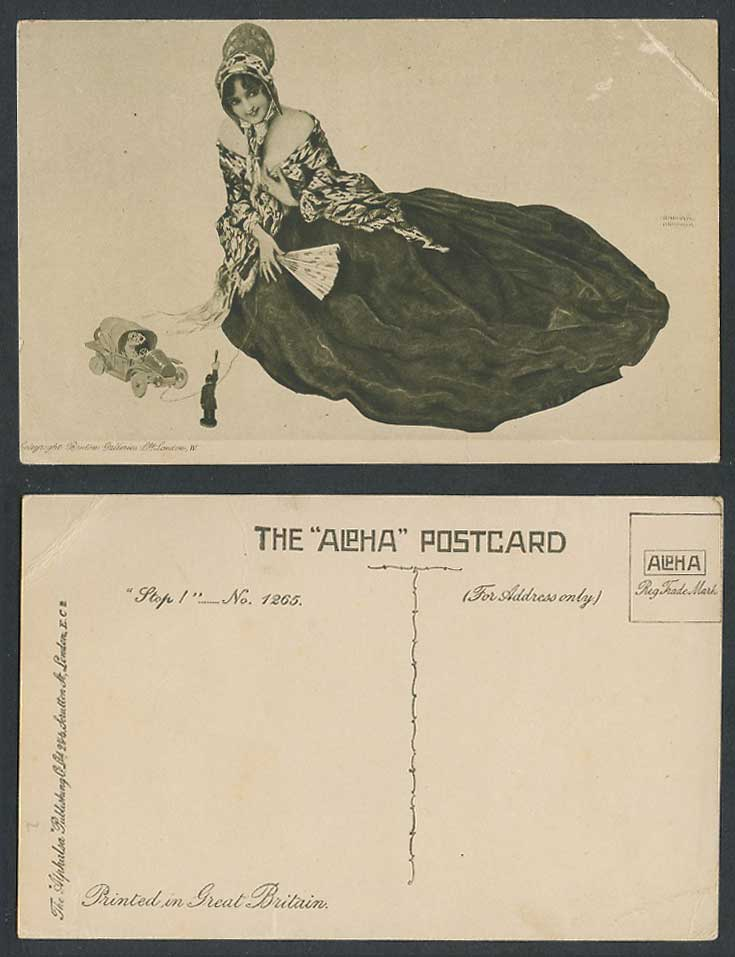 Raphael Kirchner Old Postcard Glamour Lady Woman Girl, Fan, Toy Motor Car Police