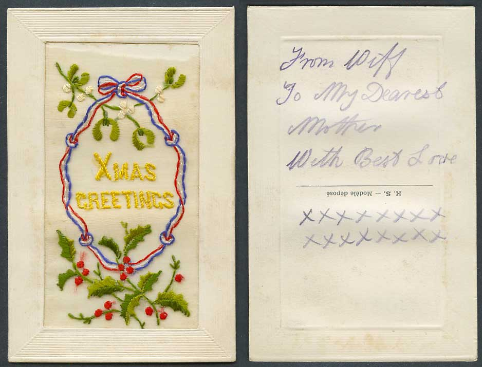 WW1 SILK Embroidered Old Postcard Xmas Greetings Christmas, Holly Mistletoe H.S.
