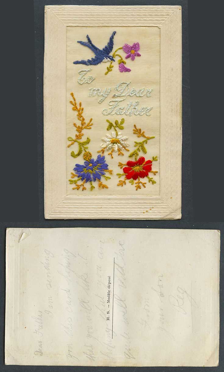 WW1 SILK Embroidered Old Postcard To My Dear Father Bird Carry Flowers Greetings
