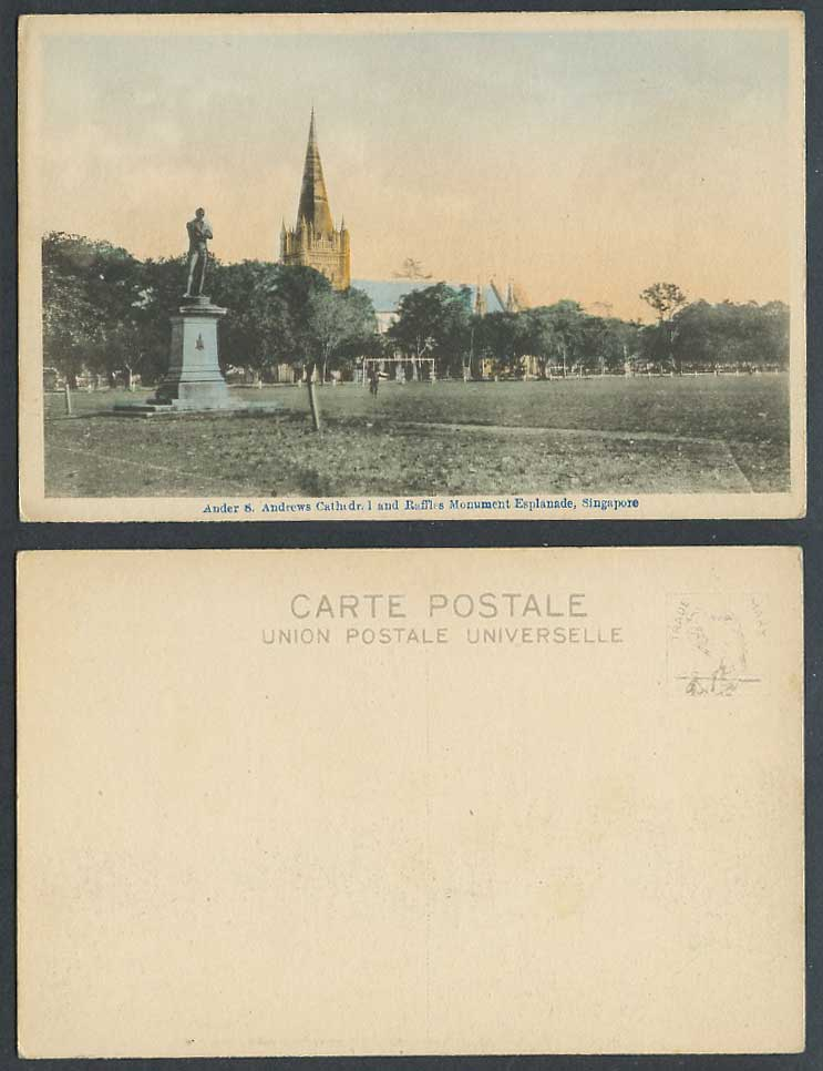 Singapore Old H Tinted Postcard St. Andrews Cathedral Raffles Monument Esplanade
