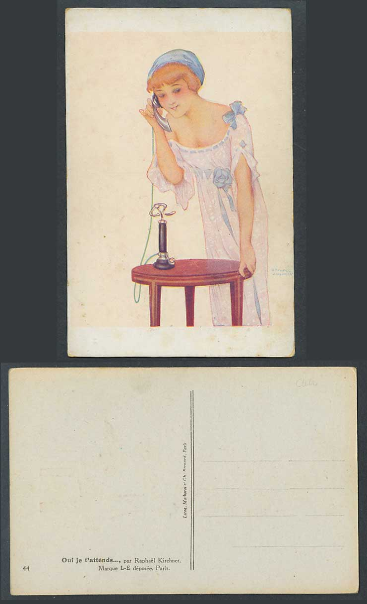 Raphael Kirchner Old Postcard Oui je t'attends, Yes I'm waiting for you on Phone