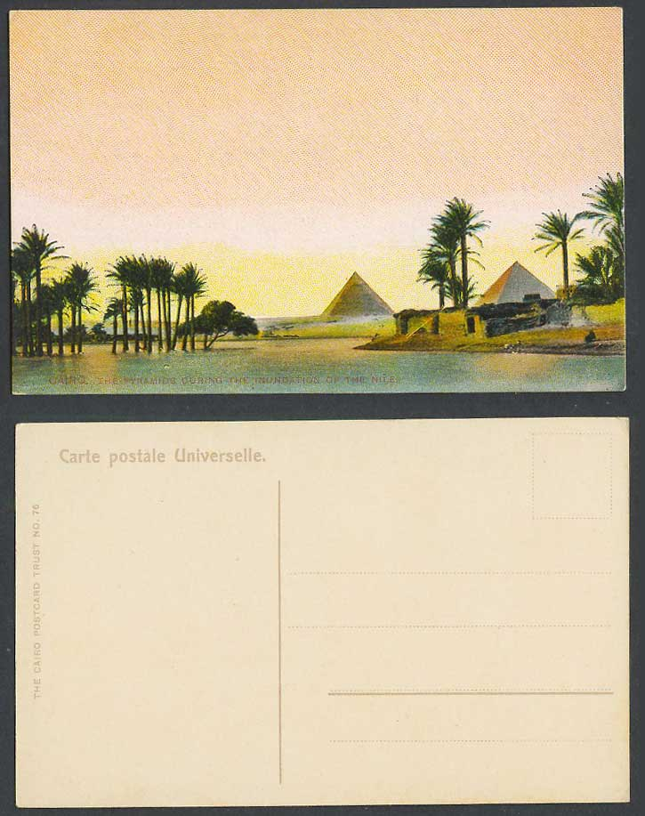 Egypt Old Colour Postcard Cairo Pyramids Giza During Inundation Flood Nile River