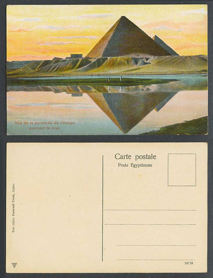 Egypt Old Color Postcard Pyramid of Cheops during Flood Pyramide pendant la Crue