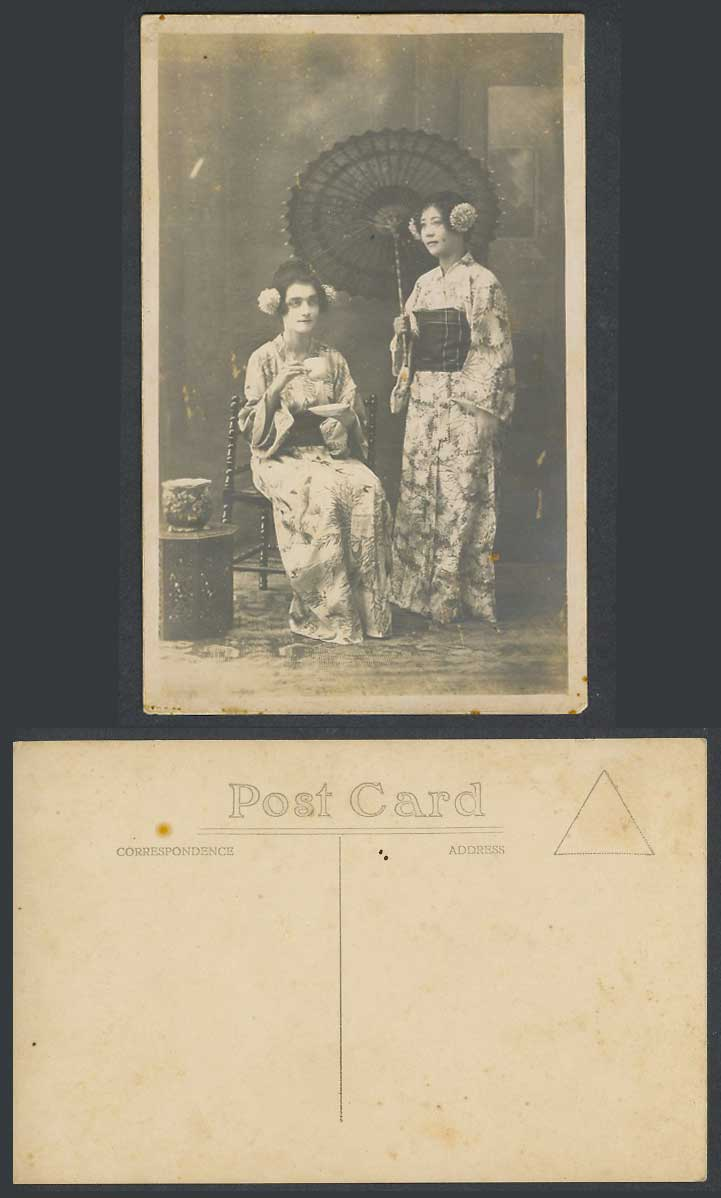 Japan Old Real Photo Postcard Western Woman as Geisha Girl, Cup of Tea, Umbrella